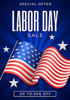 Sjabloon voor folder voor realistische dag van de arbeid verticale verkoop