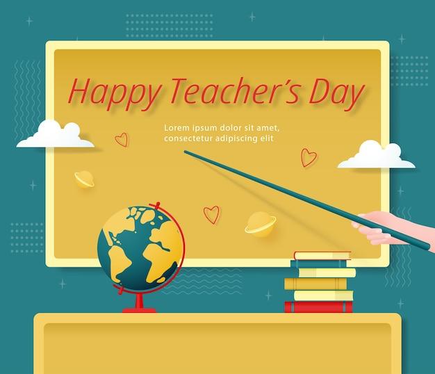 Sjabloon voor gelukkige lerarendag op de achtergrond van het schoolbord