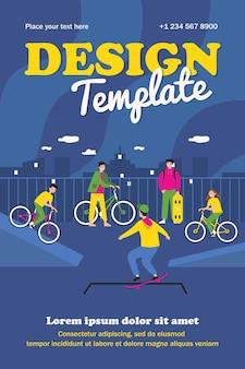 Sjabloon voor gelukkige tieners fietsen en schaatsen