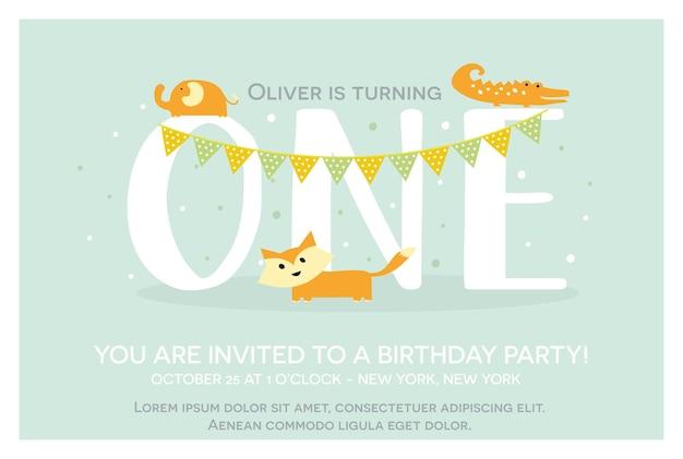 Sjabloon voor gelukkige verjaardagsuitnodiging voor eenjarige in vector