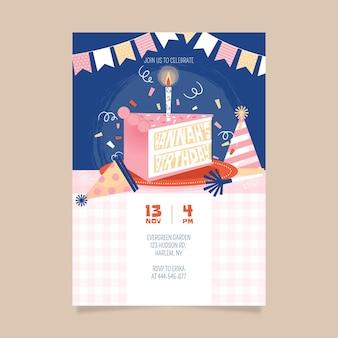 Sjabloon voor gelukkige verjaardagsuitnodiging Gratis Vector