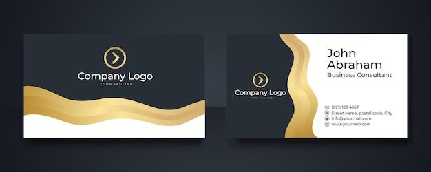 Sjabloon voor geometrische gouden premium visitekaartjes. luxe zwarte en gouden visitekaartje ontwerpsjabloon met gouden art deco geometrische lijnen.