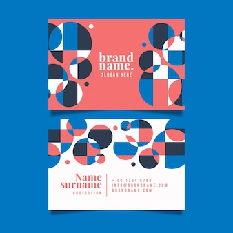 Sjabloon voor geometrische horizontale dubbelzijdige visitekaartjes Gratis Vector