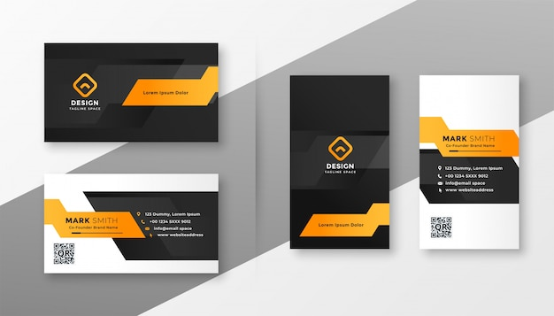 Sjabloon voor geometrische oranje visitekaartjes