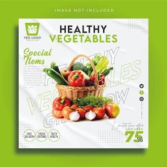 Sjabloon voor gezond eten, sociale media en instagram-berichten