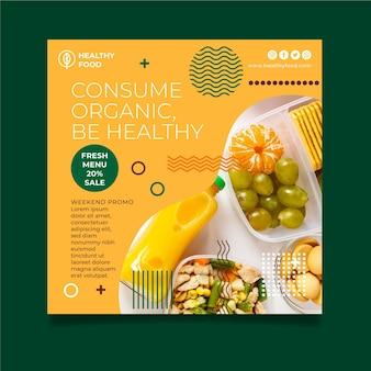 Sjabloon voor gezonde voeding kwadraat flyer
