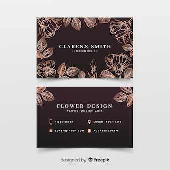 Sjabloon voor gouden bloemen visitekaartjes