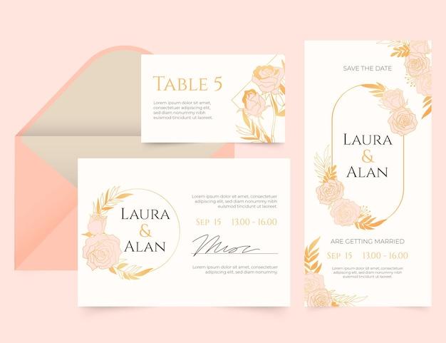 Sjabloon voor gouden luxe bruiloft briefpapier