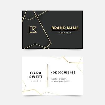 Sjabloon voor gradiënt gouden luxe horizontale visitekaartjes
