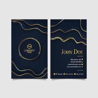 Sjabloon voor gradiënt gouden luxe verticale visitekaartjes