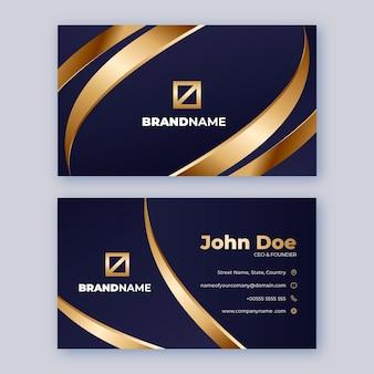 Sjabloon voor gradiënt gouden luxe visitekaartjes