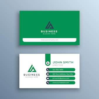 Sjabloon voor groen en wit zakelijk visitekaartjes