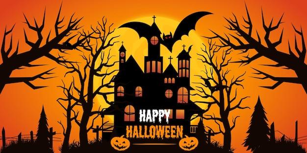 Sjabloon voor halloween-feestposter met plat ontwerp