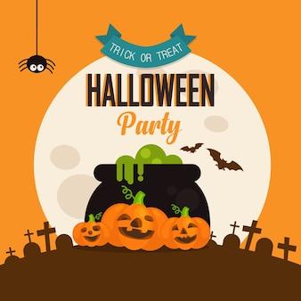 Sjabloon voor halloween-folder. enge partijuitnodiging