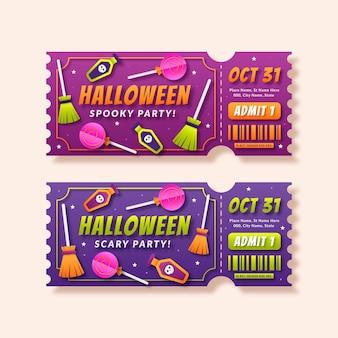 Sjabloon voor halloween-tickets in papieren stijl