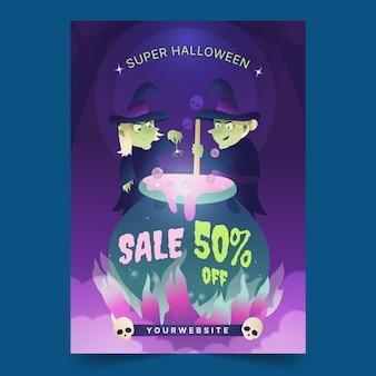Sjabloon voor halloween-verkoopposter met verloop