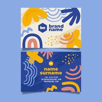 Sjabloon voor hand getrokken abstracte horizontale dubbelzijdige visitekaartjes