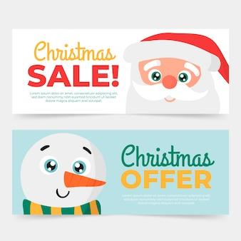 Sjabloon voor hand getrokken kerst verkoop banners