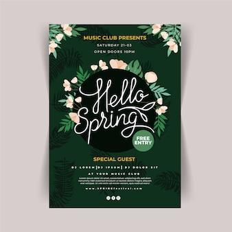 Sjabloon voor hand getrokken lente feest folder