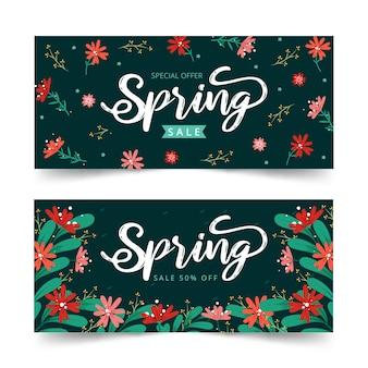 Sjabloon voor hand getrokken lente verkoop banners