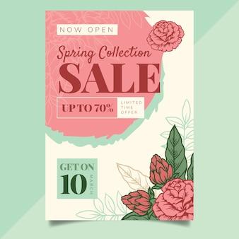Sjabloon voor hand getrokken lente verkoop folder