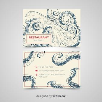 Sjabloon voor hand getrokken restaurant visitekaartjes