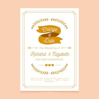 Sjabloon voor hand getrokken uitgestelde trouwkaart