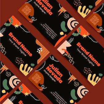 Sjabloon voor handgetekende abstracte vormen voor visitekaartjes