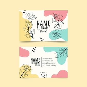 Sjabloon voor handgetekende bloemen visitekaartjes