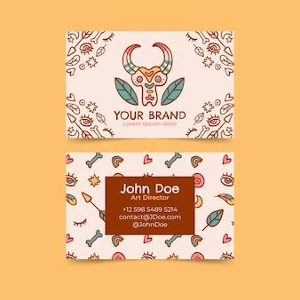 Sjabloon voor handgetekende boho horizontale visitekaartjes
