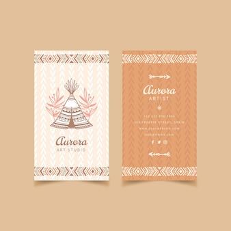 Sjabloon voor handgetekende boho-visitekaartjes graveren