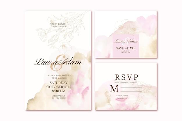 Sjabloon voor handgetekende bruiloftsbriefpapier