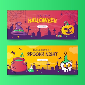 Sjabloon voor handgetekende halloween-banners