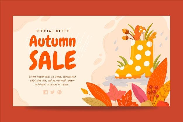 Sjabloon voor handgetekende herfst horizontale banner