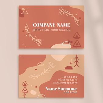 Sjabloon voor handgetekende horizontale boho-visitekaartjes