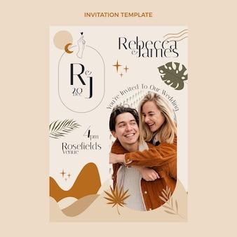 Sjabloon voor handgetekende huwelijksuitnodiging