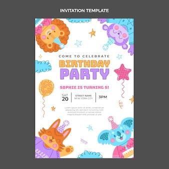 Sjabloon voor handgetekende kinderlijke verjaardagsuitnodiging
