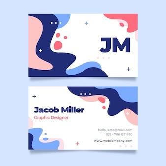 Sjabloon voor handgetekende platte abstracte vormen en horizontale visitekaartjes