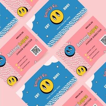 Sjabloon voor handgetekende platte trendy cartoon horizontale visitekaartjes
