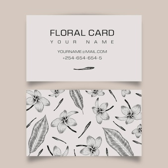 Sjabloon voor handgetekende realistische bloemen visitekaartjes
