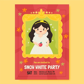 Sjabloon voor handgetekende sneeuwwitje verjaardagsuitnodiging