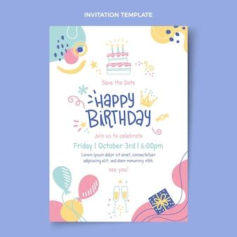 Sjabloon voor handgetekende verjaardagsuitnodiging