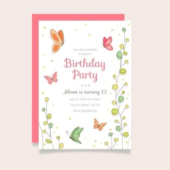 Sjabloon voor handgetekende vlinder verjaardagsuitnodiging