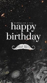 Sjabloon voor herenverjaardagswens met snorillustratie
