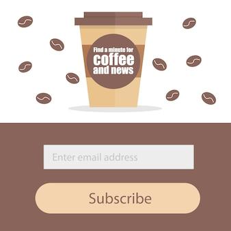 Sjabloon voor het abonneren op een nieuwsbrief - koffie modern creatief concept voor restaurant of koffiehuis