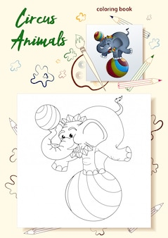 Sjabloon voor het kleuren van boeken wilde dieren in het circus.