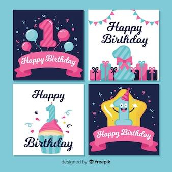 Sjabloon voor het verzamelen van kaarten voor de eerste verjaardag