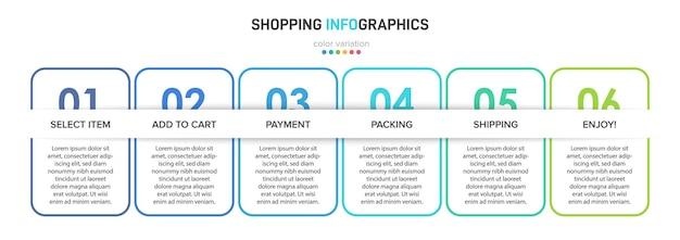 Sjabloon voor het winkelen infographics illustratie