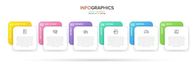 Sjabloon voor het winkelen infographics. zes opties of stappen met pictogrammen en tekst.