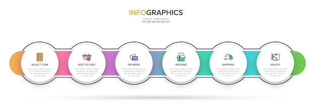 Sjabloon voor het winkelen infographics. zes opties of stappen met pictogrammen en tekst